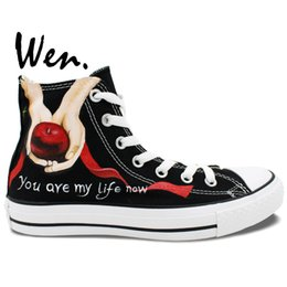 Wholesale Painted Art Wen High Top Sneakers Unique Gifts Twilight Apple And Feather Painted Canvas Shoes Man Woman