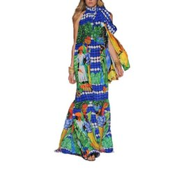 New Fashion 2016 Runway Maxi Dress Women's Halter Printed Bohemian Long Dress Holiday Beach Dress HIGH QUALITY