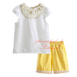 Pettigirl New Summer Baby Girls Clothing Sets White Tops 2 pcs Yellow Shorts Girls Pants Suit Sleeveless Kid Clothes DMCS81020-3L