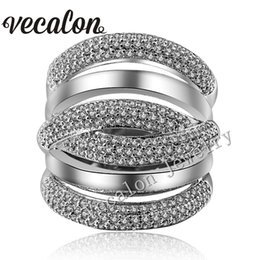Vecalon pave set 234pcs Topaz Simulated diamond Cz Cross Engagement Wedding ring for Women 14KT White Gold Filled Female Band ring
