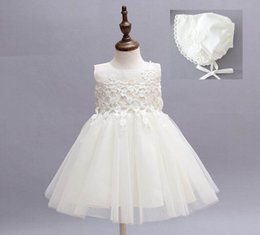 Baby Girls Dresses Baby baptism Gown Lace Princess Tutu Dress With Cap 0-2years 9030BB