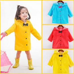 Cute Little Boys Girls Bow Solid Rain Coat Outfit Hooded Jacket Coat for Age 3-8 Size S-XXL