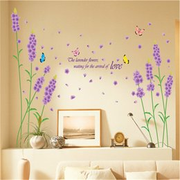 Wholesale 100x180cm Beauty Cartoon Lavender Wall Stickers for Kids Rooms Living Room Home Decor Wall Decor Mural Art