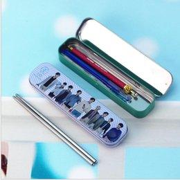 Wholesale 12 mixed tinplate pencilbox pencil case with chopstick exo bigbang sehun baekhyun luhan kris lay