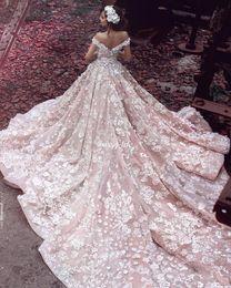 Wholesale 2016 Elie Saab New Style Blush Church Train Country Wedding Dresses D Floral Handmade Flower Off Shoulder Dubai Arabic Bridal Wedding Gowns