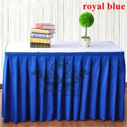 Hot Sale Royal Blue Color 100% Poly Table Skirt For Table Cloth Wedding Decoration