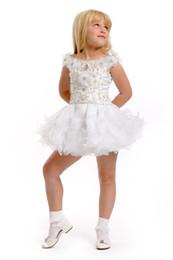 2016 New Spring White Mini Cupcake Dresses Off-the-shoulder Lovely Flower Beaded Girl's Pageant Dresses Birthday Wedding Toddler Dresses