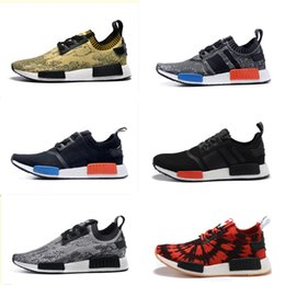 Wholesale 15 Color NMD Best Men Runner Primeknit High Quality Running Shoes with Box NMD Boost Basketball Shoes Outdoor Shoes Size EUR