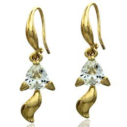 European and American fashion new high quality gold crystal ornaments exquisite little fox retro earrings free shipping wholesale gift