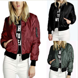 Wholesale Classic Women Jackets - 2016 Lady Casual Classic Padded Bomber Jacket Womens Retro Vintage Zip Up Biker Coat