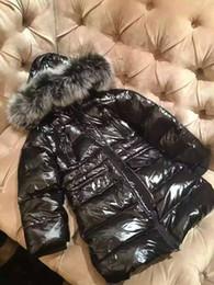 ME6 popular Brand Boys and girls real raccoon fur collar jacket children outwear winter long jacket baby snow kids coat anorak with hood