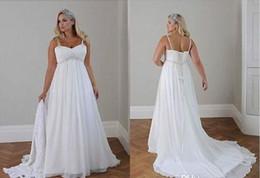 Plus Size Casual Beach Wedding Dresses 2017 Spaghetti Straps Beaded Chiffon Floor Length Empire Waist Elegant Bridal Gown