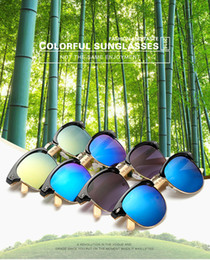 Wooden arm sunglasses with retro style women sun glasses men matel bridge and edge oculos de sol