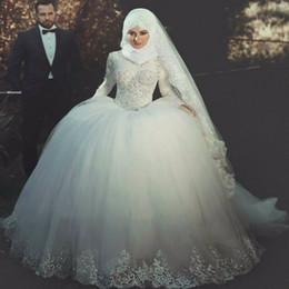 Novias musulmanes vestidos simples en Línea-Mangas largas 2017 del vestido de la princesa Cristales islámica vestidos de novia de encaje balón musulmanes Appliqued hinchada de tul blanco vestidos de novia de la novia musulmana