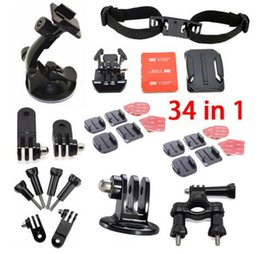Go Accessories Pro kit 34-in-1 Mount System Set for Pro Hero4 hero3 hero 3 3+ 2 1 Roll Bar Mount+Suction Cup Mount