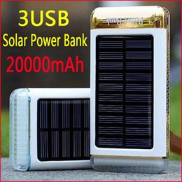 2016 New 20000mah Solar Power Bank 3 USB port Solar Charger bateria external Solar Battery Charger LED light for smartphone