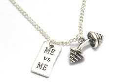 Wholesale 12pcs Motivational Necklace Barbell Jewelry Dumbbell Necklace Fitness Quote Inspiration Gym JEWELRY