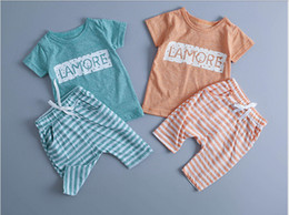 New fashion baby boy gril 100% cotton lovely ventilate short striped pants sozy letter printed T-shirt 2pcs suit