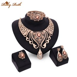 Wholesale Ruby Ruth jewelry sets k gold plated african necklace earrings fashion wedding crystal women gift jewellery sieraden perhiasan set