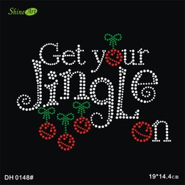 Wholesale Get your jingle on motif iron on rhinestone heat transfer for tshirt DIY DH0148