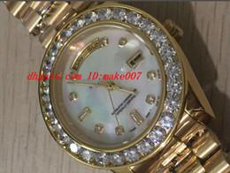 Descuento esfera blanca para hombre de los relojes automáticos Relojes de Lujo Día 36mm hombres de la alta calidad Fecha Presidente del oro blanco 18K MOP Dial Bisel Quickset 2Y Mens automático del reloj del reloj
