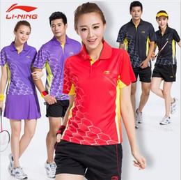 New Li-Ning Badminton t-shirts suits, table tennis shirts collar short sleeve blouse, polyester quick-drying shorts and T-shirts M-4XL