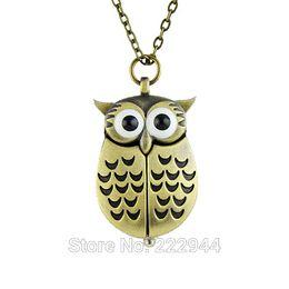 Wholesale Unique antique fashion alloy vivid owl pocket watches pendent necklace pocket compass watch pocket stop watch