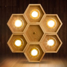 Wholesale Newest Honeycomb Dia45cm Wooden Pendant Lamp with W LED Downlight Indoor Deco Ash tree Wood Hanging Lamp