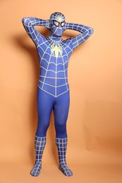 (D2-005)Super Quality Unisex Adult Kids Full Body Blue Lycra Spandex Superhero Spiderman Zentai Suits Halloween Costume