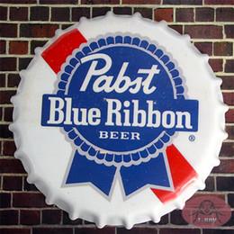 Wholesale Blue Ribbon Round Beer signs Bottle Cap Vintage Tin Sign Bar pub Lounge Wall Decor Metal Poster cm RM
