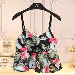2017 imprimé floral t-shirts femmes Vente en gros de l'été 2016 backless de mode coupe-bas imprimé floral caraco culture femmes en tête tees femme belle petite veste débardeur imprimé floral t-shirts femmes sur la vente