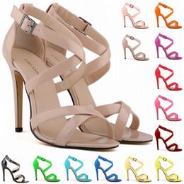 LOSLANDIFEN New Fashion Women Thin Heels Pumps Open Toe Ankle Straps High Heels Shoes Summer Pumps Patent Leather 102-1A-PA