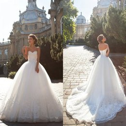 Wholesale Unique Design Sweetheart Ball Gown Wedding Dresses Court Organza Sexy Lace Wedding Gowns Best Selling Lace Up Court Train
