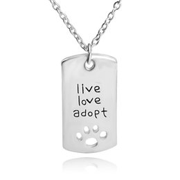 Wholesale 2016 live love adopt footprints love heart shaped necklace loving father faher s Day gift jewelry between mother and daughterZJ