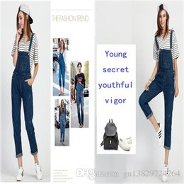 Wholesale Size Suits Suspenders - This year spring and summer Womens Jeans Pants female fashion trend lines catch loose blue suspenders Various size nine pants Jump suit