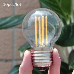 Wholesale 10pcs E27 E14 E12 Antique LED V V Retro LED Filament Lamp LED Glass Bulb G45 W W W Globe Bulb Ball Light