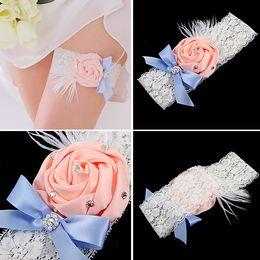 Free Shipping Wedding Garter Ivory Bridal Garter Ivory Lace Garter Pink Rolled Rosette and Crystal Rhinestone TYC005-5
