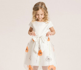 Fashion Flowers Fresh Girl Dress Tutu Princess Dress Bow Belt Summer New Design Baby Girls Skirt 100-160CM XREY241
