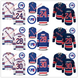 Wholesale 24 Oscar Lindberg Dominic Moore Henrik Lundqvist Jersey th Anniversary Patch New York Rangers Jerseys