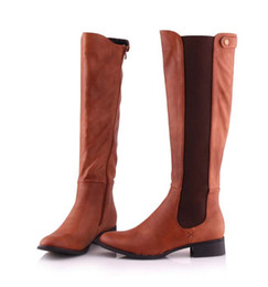 Wholesale Best selling Woman Fashion PU high boots elastic winter boots womens flat combat boots Cheap Solid Martin Big Size Adhesive
