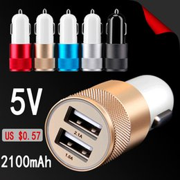 Wholesale Best Metal Dual USB Port Car Charger Universal Volt Amp for Apple iPhone iPad iPod Samsung Galaxy