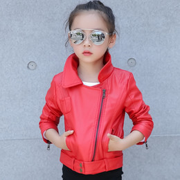 Wholesale Black Red Girls Jackets Fashion Long Sleeve Faux Leather Coat Spring Autumn Girls Tops European Style Big Kids Jackets Children Clothing