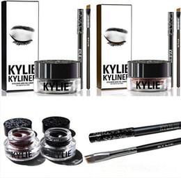 Wholesale Kylie Gel Eyebrow Liner Kit BRAND NEW Kylie Jenner Kyliner In Black Brown With Eyeliner Gel pot Brush set eyeliner brush cream