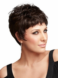 Natural highlights short dark brown wig afro hair, puffy straight short wigs for black women