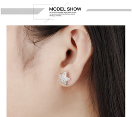 18K Gold Platinum Plated Gold Star Stud Earrings With Full White Zircon Stone For Women Birthday Gift Jewelry