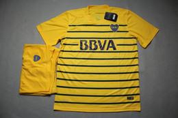 Wholesale 16 Boca Juniors away yellow soccer uniforms men s short sleeve thai quality soccer jerseys athletic football wear soccer kit sport sets