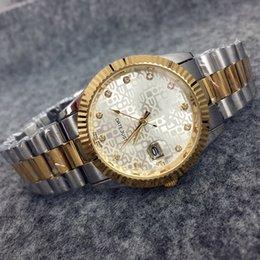 Wholesale 2016 New Fashion Style Man Gold Watch With date Lady Watch Steel Bracelet Chain Luxury Quartz Watch High Quality