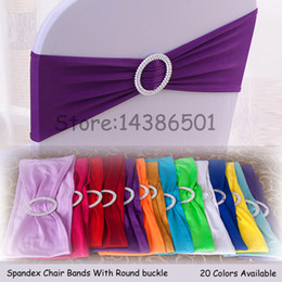Promotion arcs décorations mariage 100PCS Elastic Stretch Chair Bands With Buckle Slider Sashes Bow For Wedding Home Party Fournisseurs Décorations 24 couleurs Options ECB-MIX100