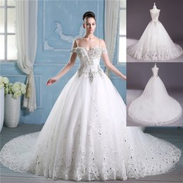 Wholesale Vintage Bateau Wedding Dresses Real Image Organza Beach Bridal Gowns Handwork Beads Diamond Backless Sweep Train Custom Made WD