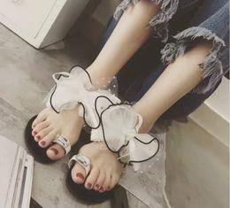 Wholesale Cloth Heels Wholesale - New Fashion Beauty Bowtie Sandals Women's Open Toe Flat Heel Hollow Shoes 20025